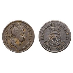 1723 Rosa Americana Penny with Crowned Rose VF30