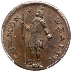 1787 Massachusetts Half Cent Ryder 4-C R1 PCGS graded MS65 Brown