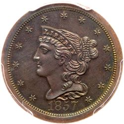 1857 Breen 1-B (doubled T in CENT) R4 PCGS graded PR66 Brown