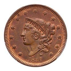 1837 N-12 R3 Beaded Hair Cord PCGS graded MS62 Red & Brown