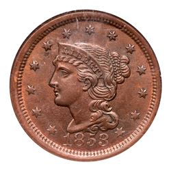 1853 N-25 R1 Repunched 1 NGC graded MS64 Red & Brown