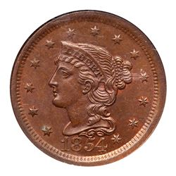 1854 N-5 R3 Repunched 18 NGC graded MS65 Brown