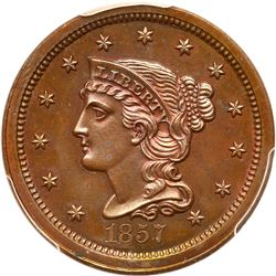 1857 N-5 R5+ PCGS graded PR65 Red & Brown, CAC Approved