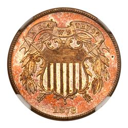 1873 Two Cents. Closed 3. NGC PF64