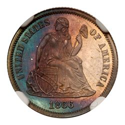 1866 Liberty Seated Dime. NGC PF68