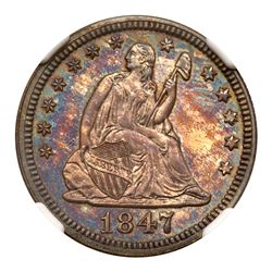 1847 Liberty Seated Quarter Dollar. NGC PF66