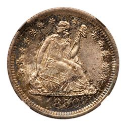 1850-O Liberty Seated Quarter Dollar. NGC MS65