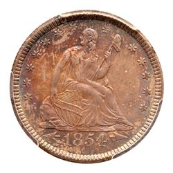 1854-O Liberty Seated Quarter Dollar. Arrows. PCGS MS65