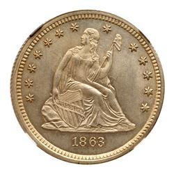 1863 Liberty Seated Quarter Dollar. NGC MS66