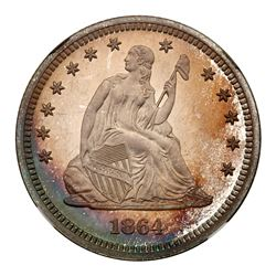 1864 Liberty Seated Quarter Dollar. NGC PF68