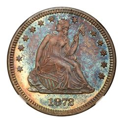 1872 Liberty Seated Quarter Dollar. NGC MS67