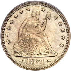 1874 Liberty Seated Quarter Dollar. Arrows. PCGS PF64
