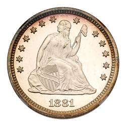 1881 Liberty Seated Quarter Dollar. NGC PF68