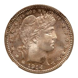 1914 Barber Quarter Dollar. NGC MS67