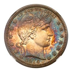 1914 Barber Quarter Dollar. NGC PF68