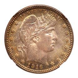 1916-D Barber Quarter Dollar. NGC MS68