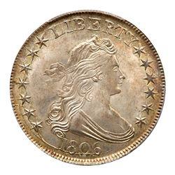 1806 Draped Bust Half Dollar. Pointed 6, stem through claw. PCGS MS65