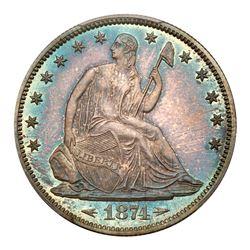 1874 Liberty Seated Half Dollar. Arrows. PCGS PF66