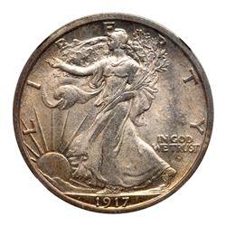 1917-D Liberty Walking Half Dollar. Mint mark on obverse. NGC MS65