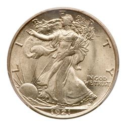 1921-D Liberty Walking Half Dollar. PCGS MS64