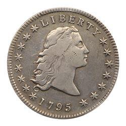 1795 Flowing Hair Dollar. 3 leaves beneath each wing