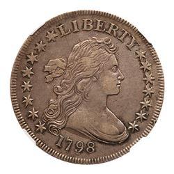 1798 Draped Bust Dollar. Small eagle, 15 stars on obverse. NGC AU53
