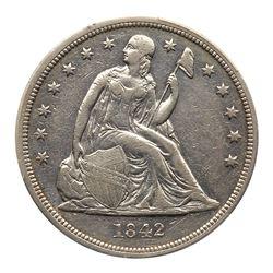 1842 Liberty Seated Dollar