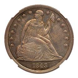 1843 Liberty Seated Dollar. NGC MS64