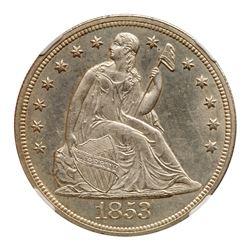 1853 Liberty Seated Dollar. NGC MS64