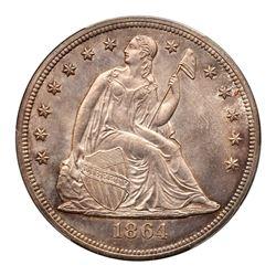1864 Liberty Seated Dollar. PCGS MS65