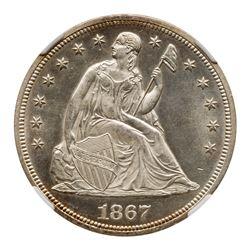 1867 Liberty Seated Dollar. NGC MS65