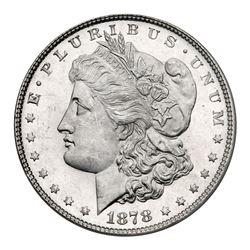 1878 Morgan Dollar. 7 tail feathers, reverse of 1878. Vam-196. SEGS MS63