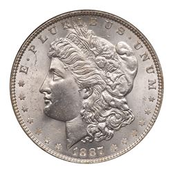 1887/6 Morgan Dollar. NGC MS63