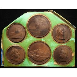 Complete Six-Medal Set - U.S. Centennial Exposition Pressed Wood Medals.