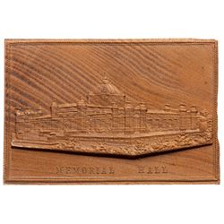 1876 U.S. Centennial Exposition Ticket and Pressed wood Memorial Hall Medal. Brilliant Uncirculated.