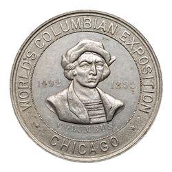 1892-93 Columbian Exposition Encased U.S. 1-cent Stamp. Eglit-136, Aluminum, About Uncirculated.