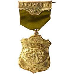 1892 Columbian Exposition Souvenir Badge. Gilt bronze.