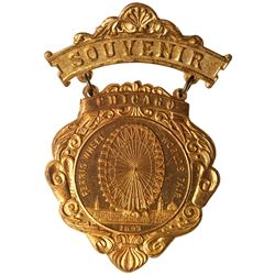 1893 Columbian Exposition Ferris Wheel Souvenir Badge. Brass. Brilliant Uncirculated