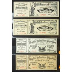 1893 Four World's Columbian Exposition Unissued Admission Tickets for Chicago and Manhattan Days. Ge