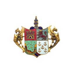 1893 Columbian Exposition - Columbus Coat of Arms gilded enamel pin - Large Size.