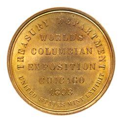 1893 Official Medal, Large Letters. HK-154. Eglit-23. Brass. ICG MS65