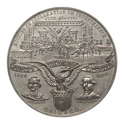 1893 Declaration of Independence - Boldenweck on Edge. Eglit-36A, White metal. NGC MS64