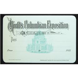 1893 Exposition Admission Pass. Crisp Uncirculated.