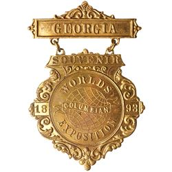 1893 Columbian World's Exposition GEORGIA. Brass, Brilliant Proof-like Uncirculated