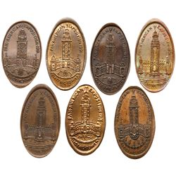 Seven - 1901 Pan-American Exposition - Electric Tower elongateds on Indian Head Cents.