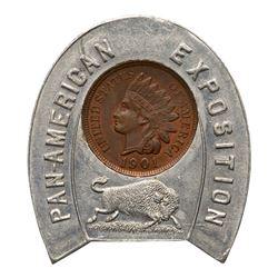 Three 1901 Pan-American Exposition Goodluck Souvenir Encased 1901 Indian Cents.