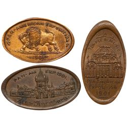 Three 1901 Pan-American Exposition elongated Indian Head Cents.