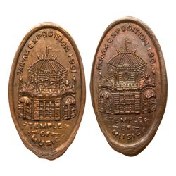 Two 1901 Pan-American Exposition - Temple of Music - McKinley Shot elongated Indian Head Cents. on e