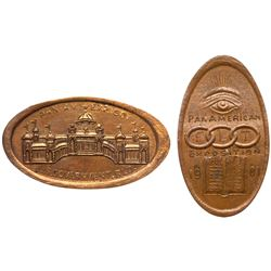 Two - 1901 Pan-American Exposition - Elongated Cents. Odd Fellows and Government Building. Both Bril