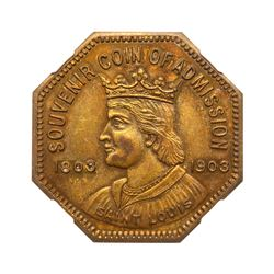 1904 Louisiana Purchase Admission Souvenir Medal No. 275026. HK-306, H-30-10, Brass. NGC MS63